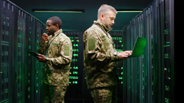 Military IT professionals in a server room