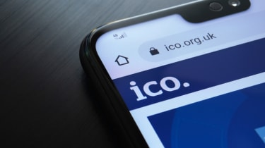The ICO webpage displayed on a smartphone display