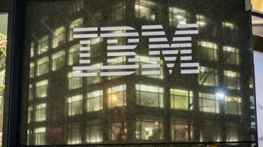 An IBM building at night