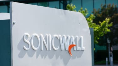 SonicWall sign and logo at computer and network security company headquarters in Milpitas, California