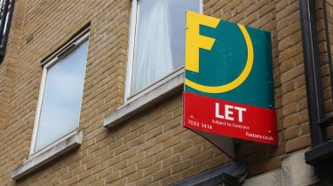 Flat to let displaying Foxtons real estate agency sign in London, UK