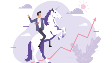 A cartoon of a businessman in a suit riding a unicorn that's rearing up with a line graph showing strong growth in front of it