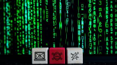three blocks in front of falling binary code