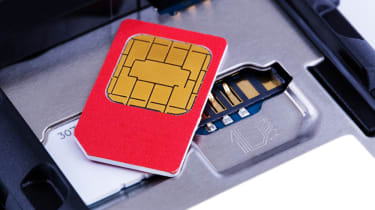 A SIM card on top of a mobile