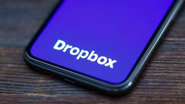 Dropbox logo displayed on a smartphone