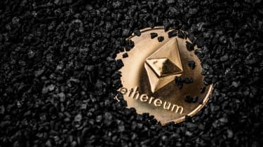 Physical manifestation of Ether cryptocurrency buried in gravel