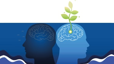 Two silhouettes of a head, one in dark blue, the other in light blue, facing away from each other. The light blue one has a plant sprouting from it, symbolising growth and creativity