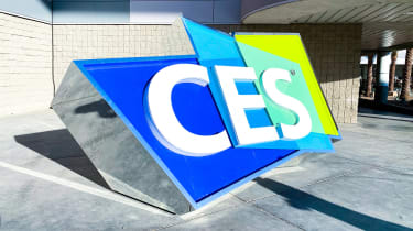 An outdoor, 3D CES logo sign from CES Las Vegas in January 2020