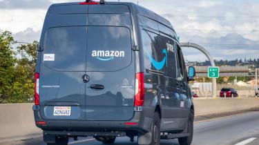 Amazon van driving down the highway