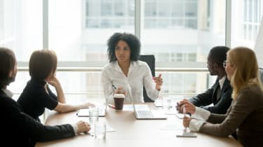 A female-led meeting