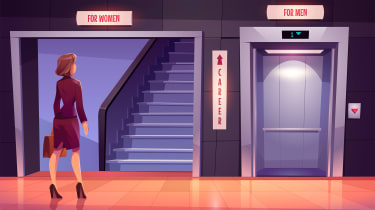 An illustration of a businesswoman stood in the lobby of a building in front of a set of stairs labelled 'for women' and an elevator labelled 'for men', divided by a sign with an up arrow on it labelled careers