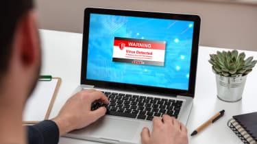 A security alert on a laptop