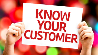 Hands holding up a sign saying 'know your customer' in red letters