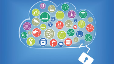 A drawing of a cloud holding numerous apps with an open padlock hanging from it