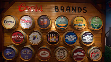 Sign showing all the Coors brands