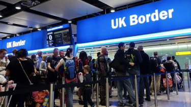 Image of a busy day at the UK border