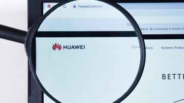 Huawei website homepage, with Huawei logo visible on display screen