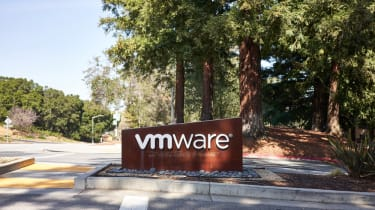 The entrance sign at VMware's headquarters in Palo Alto