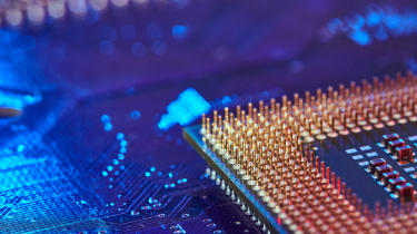 Close-up of a circuit board and CPU