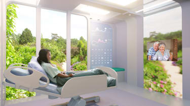 A patient in a 'space-age' hospital with video conferencing tech