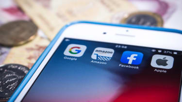 Google, Amazon, Facebook and Apple apps on a smartphone display