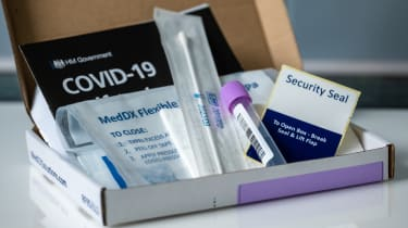 Box containing NHS Covid-19 home PCR self-test kit