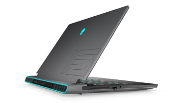A rear view of an Alienware m15 Ryzen Edition R5 that's open and angled left