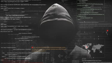 abstract image of a hacker with lines of code on a screen