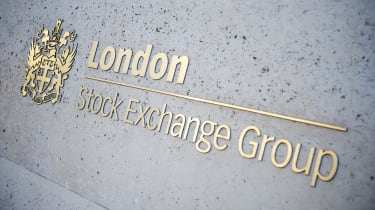 London Stock Exchange Group sign in gold lettering on a wall