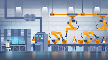 A cartoon depiction of a smart factory floor to symbolise operational technology
