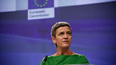 Margrethe Vestager addresses a press conference on an antitrust case against US search engine Google at the European Commission in Brussels, Belgium on Jun. 27, 2017