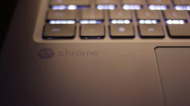 Chrome logo on a Dell Chromebook