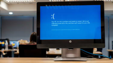 Windows 10 error message displayed on a monitor
