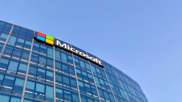 The Microsoft logo displayed on a building