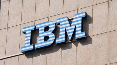 IBM (International Business Machines Corporation) sign hanging on a building in Lugano, Switzerland