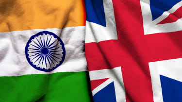 The flags of India and the UK side by side