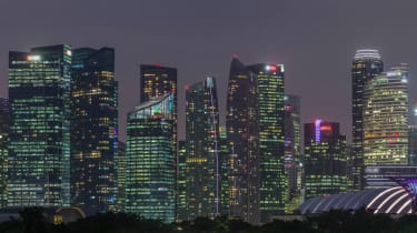 Singapore skyling showing its business district