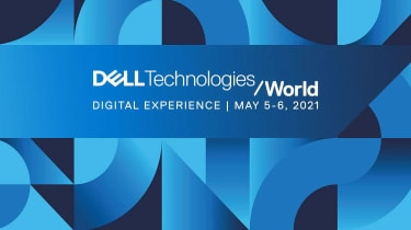 A blue image with the Dell Technologies World 2021 event logo