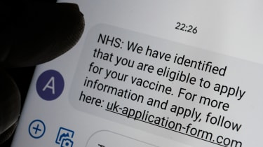 A text message regarding vaccine appointments with a link