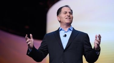 Michael Dell speaking on stage