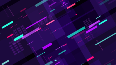Abstract image of coloured bars on a purple background to symbolise moving data