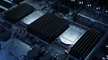 An image of the AMD EPYC processor fixed to a machine