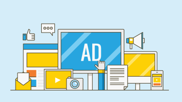 An illustration of various digital devices displaying things like video or other media, whith a large desktop screen that has the word ad on it and a person is clicking on the advert