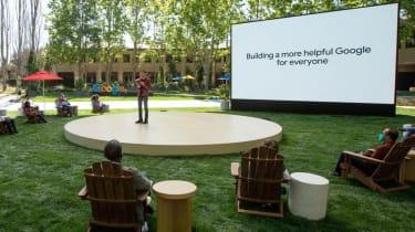 Sundar Pichai on stage at Google I/O 2021