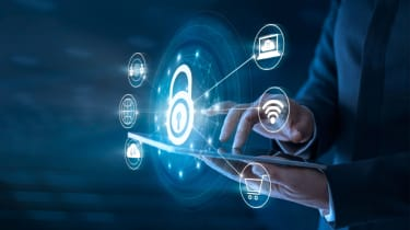 Cybersecurity digital padlock illustration