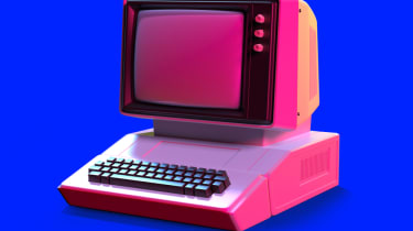 An old style computer in pink