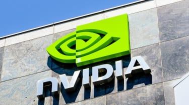 An angled shot of the Nvidia logo on its California HQ