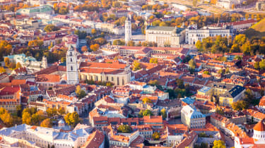 An aerial view of Vilnius, the capital of Lithuania