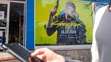 Cyberpunk 2077, action role-playing video game developed and published by CD Projekt, advertisement was installed on facade of the building.