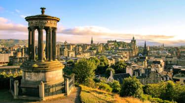 Edinburgh's skyline at dawn as seen from Calton Hill
